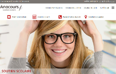 Capture du site internet de la franchise de soutien scolaire Anacours
